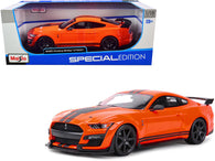 "2020 Ford Mustang Shelby GT500 Orange with Black Stripes ""Special Edition"" 1/18 Diecast Model Car by Maisto"