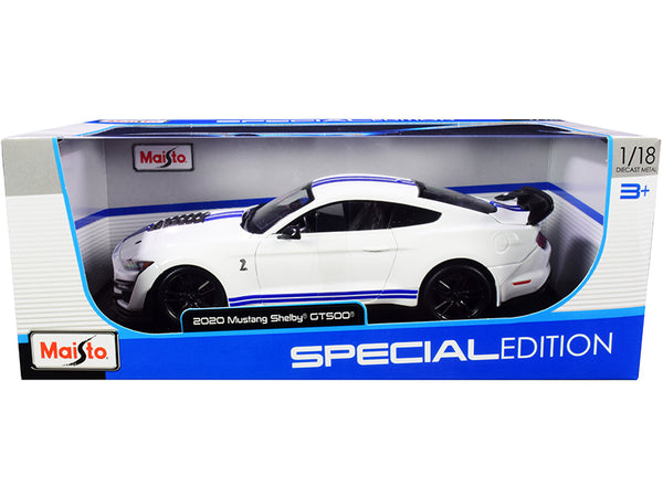 "2020 Ford Mustang Shelby GT500 White with Blue Stripes ""Special Edition"" 1/18 Diecast Model Car by Maisto"