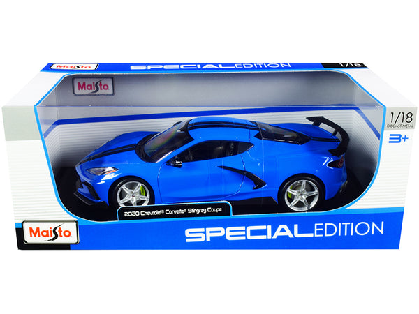2020 Chevrolet Corvette Stingray C8 Coupe with High Wing Blue with Black Stripes 1/18 Diecast Model Car by Maisto