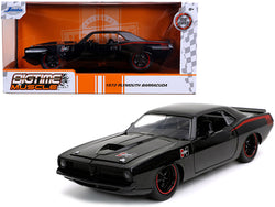"1973 Plymouth Barracuda ""Hurst"" Black with Red Stripes""Bigtime Muscle"" 1/24 Diecast Model Car by Jada"