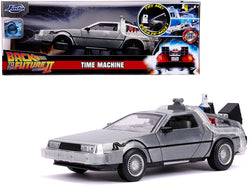 "DeLorean Brushed Metal Time Machine with Lights (Flying Version) ""Back to the Future Part II"" (1989) Movie ""Hollywood Rides"" Series 1/24 Diecast Model Car by Jada"