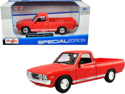 "1973 Datsun 620 ""Li'l Hustler"" Pickup Truck Orange with White Stripes ""Special Edition"" 1/24 Diecast Model Car by Maisto"