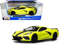 2020 Chevrolet Corvette Stingray Z51 Coupe Yellow with Black Stripes 1/24 Diecast Model Car by Maisto