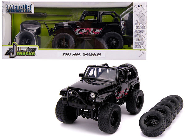 "2007 Jeep Wrangler Black with Extra Wheels ""Just Trucks"" Series 1/24 Diecast Model by Jada"