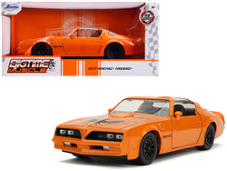 "1977 Pontiac Firebird Trans Am Metallic Orange with Black Wheels ""Bigtime Muscle"" 1/24 Diecast Model Car by Jada"