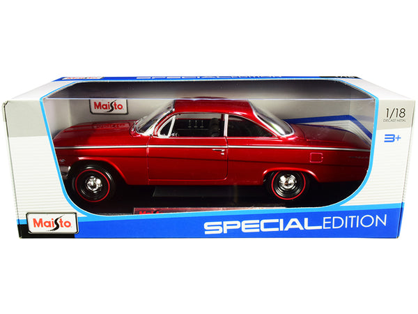 "1962 Chevrolet Bel Air Burgundy with Black Interior ""Special Edition"" 1/18 Diecast Model Car by Maisto"