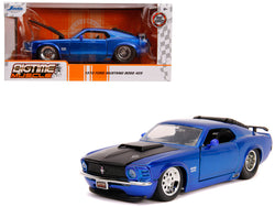 "1970 Ford Mustang Boss 429 Candy Blue with Black Hood ""Bigtime Muscle"" 1/24 Diecast Model Car by Jada"