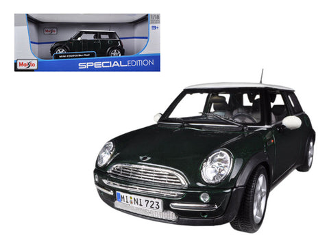 Mini Cooper With Sunroof Green 1/18 Diecast Model Car by Maisto