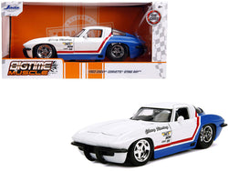 "1963 Chevrolet Corvette Stingray White and Blue with Red Stripe ""Chevy Racing"" ""Bigtime Muscle"" 1/24 Diecast Model Car by Jada"