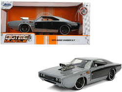 "1970 Dodge Charger R/T with Blower Gray Metallic and Black ""Bigtime Muscle"" 1/24 Diecast Model Car by Jada"
