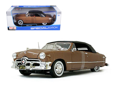 1950 Ford Convertible Soft Top Brown/Bronze 1/18 Diecast Model Car by Maisto