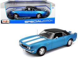 1968 Chevrolet Camaro Z/28 Coupe Blue with Blue Stripes and Black Top 1/18 Diecast Model Car by Maisto