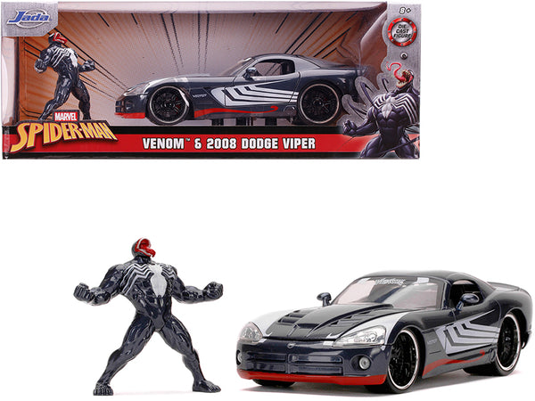 "2008 Dodge Viper SRT10 Dark Gray with Venom Diecast Figure (Spider-Man) ""Marvel"" Series 1/24 Diecast Model Car by Jada"