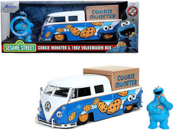 "1962 Volkswagen Pickup Bus with Cookie Monster Diecast Figure (with sound) ""Sesame Street"" TV Series 1/24 Diecast Model Car by Jada"