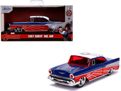 "1957 Chevrolet Bel Air Blue Metallic and Red with White Top ""Falcon"" ""Avengers"" ""Marvel"" Series 1/32 Diecast Model Car by Jada"