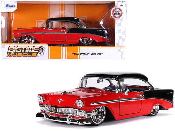 "1956 Chevrolet Bel Air Red and Black ""Bigtime Muscle"" 1/24 Diecast Model Car by Jada"
