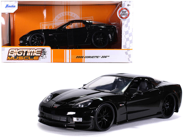 "2006 Chevrolet Corvette Z06 Black ""Bigtime Muscle"" 1/24 Diecast Model Car by Jada"