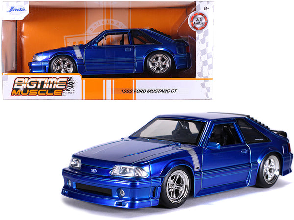 "1989 Ford Mustang GT 5.0 Candy Blue with Silver Stripes ""Bigtime Muscle"" 1/24 Diecast Model Car by Jada"