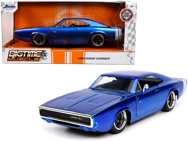 "1968 Dodge Charger R/T Candy Blue with White Stripes ""Bigtime Muscle"" 1/24 Diecast Model Car by Jada"