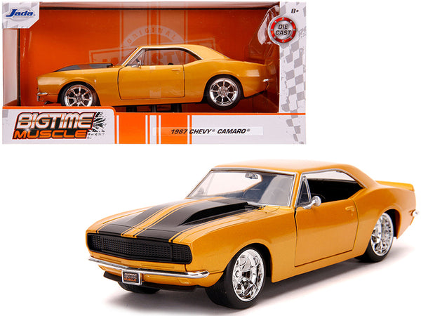 "1967 Chevrolet Camaro Orange Metallic with Black Stripes ""Bigtime Muscle"" 1/24 Diecast Model Car by Jada"