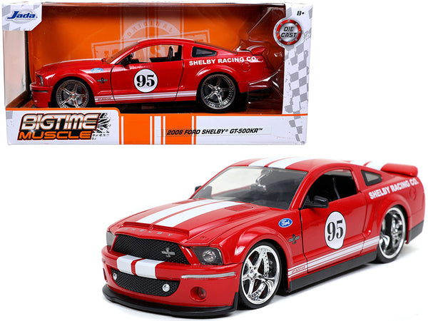 "2008 Ford Mustang Shelby GT-500KR #95 Red with White Stripes ""Shelby Racing Co."" ""Bigtime Muscle"" 1/24 Diecast Model Car by Jada"