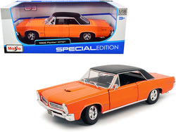 "1965 Pontiac GTO Hurst Orange with Black Top and White Stripes ""Special Edition"" 1/18 Diecast Model Car by Maisto"