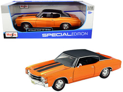 1971 Chevrolet Chevelle SS 454 Sport Metallic Orange with Black Top and Black Stripes 1/18 Diecast Model Car by Maisto