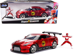 "2009 Nissan GT-R (R35) Candy Red with a Red Ranger Diecast Figure ""Power Rangers"" 1/24 Diecast Model Car by Jada"