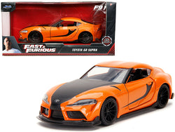 "Toyota GR Supra Orange with Black Stripes ""Fast & Furious F9"" (2021) Movie 1/32 Diecast Model Car by Jada"