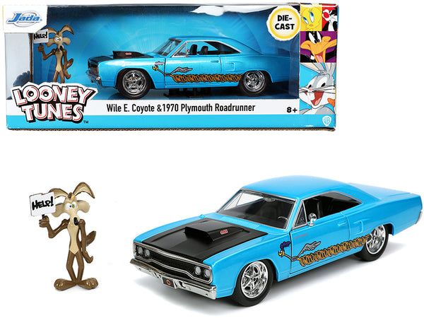 "1970 Plymouth 440-6BBL RoadRunner Light Blue Metallic with Black Hood and Wile E. Coyote Diecast Figure ""Looney Tunes"" 1/24 Diecast Model Car by Jada"