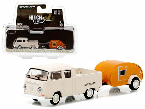 "1968 Volkswagen Type 2 Double Cab Pickup and Teardrop Trailer ""Hitch & Tow"" Series #10 1/64 Diecast Models by Greenlight"