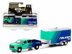 "2015 Chevrolet Silverado Pickup Truck ""Falken Tires"" and Enclosed Car Hauler ""Hitch & Tow"" Series #11 1/64 Diecast Models by Greenlight"
