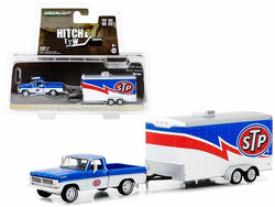 "1970 Ford F-100 and Enclosed Car Trailer ""STP Racing"" ""Hitch & Tow"" Series #12 1/64 Diecast Models by Greenlight"