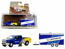 "2016 Ford F-150 Michelin Tires and Enclosed Car Trailer Michelin Tires Racing ""Hitch & Tow"" Series #13 1/64 Diecast Models by Greenlight"