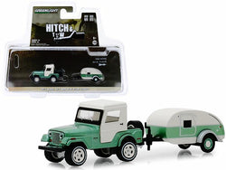 "1972 Jeep CJ-5 Half-Cab and Teardrop Trailer Metallic Green and Cream ""Hitch & Tow"" Series #16 1/64 Diecast Models by Greenlight"