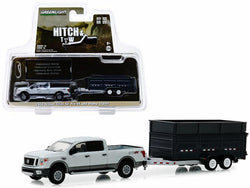 "2018 Nissan Titan XD Pro-4X Pickup Truck and Double-Axle Dump Trailer Gray ""Hitch & Tow"" Series #16 1/64 Diecast Models by Greenlight"