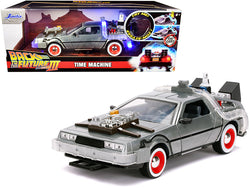 "DeLorean Brushed Metal Time Machine with Lights ""Back to the Future Part III"" (1990) Movie ""Hollywood Rides"" Series 1/24 Diecast Model Car by Jada"