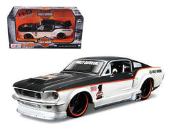 "1967 Ford Mustang GT White #1 ""Harley Davidson"" 1/24 Diecast Model Car by Maisto"