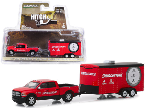 "2017 Dodge Ram 2500 Big Horn Pickup Truck and Enclosed Car Hauler ""Bridgestone Service Center"" Red ""Hitch & Tow"" Series #17 1/64 Diecast Models by Greenlight"