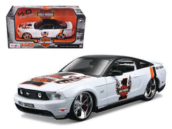 "2011 Ford Mustang GT White #1 ""Harley Davidson"" 1/24 Diecast Model Car by Maisto"