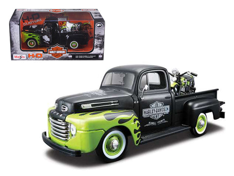 "1948 Ford F-1 Pickup Truck ""Harley Davidson"" with a 1948 FL Panhead Motorcycle Black/Green 1/24 Diecast Models by Maisto"
