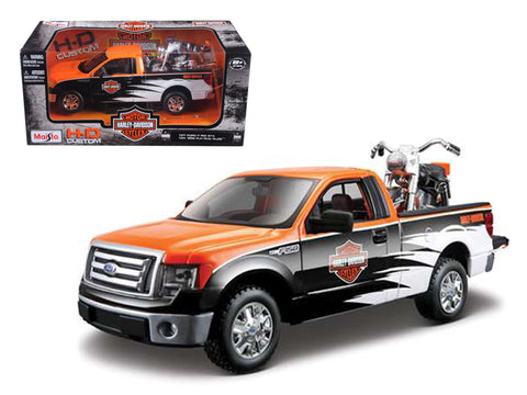 "2010 Ford F-150 STX ""Harley Davidson"" 1/27 Orange/White/Black and 1/24 1958 FLH Duo Glide Motorcycle by Maisto"