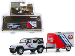 "2015 Jeep Wrangler Unlimited ""STP"" White with Black Top and ""STP"" Small Cargo Trailer ""Hitch & Tow"" Series #18 1/64 Diecast Models by Greenlight"