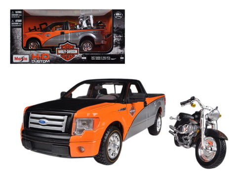 "2010 Ford F-150 STX 1/27 Orange/Black/Silver and a 1/24 ""Harley Davidson"" FLSTF Fat Boy Motorcycle Diecast Models by Maisto"