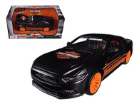"2015 Ford Mustang GT ""Harley Davidson"" Matte Black 1/24 Diecast Model Car by Maisto"