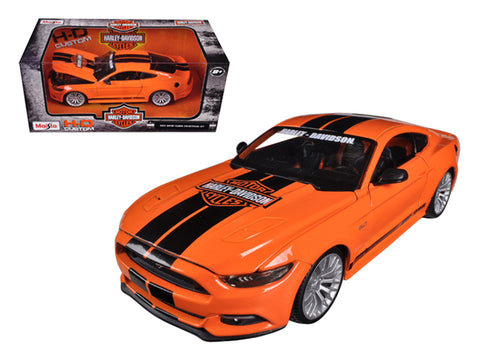 "2015 Ford Mustang ""Harley Davidson"" Orange 1/24 Diecast Model Car by Maisto"