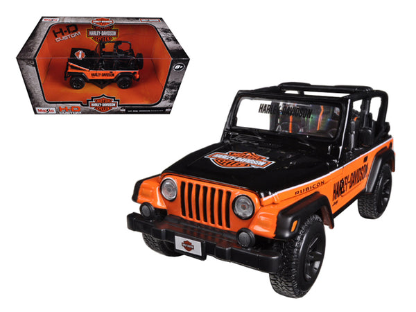 Jeep Wrangler Rubicon Harley Davidson Orange/Black 1/27 Diecast Model by Maisto