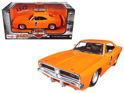 "1969 Dodge Charger R/T ""Harley Davidson"" Orange 1/25 Diecast Model Car by Maisto"