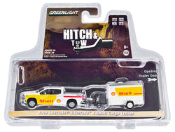 "2019 Chevrolet Silverado 4x4 Pickup Truck and Small Cargo Trailer White and Yellow ""Shell Oil"" ""Hitch & Tow"" Series #20 1/64 Diecast Models by Greenlight"