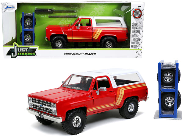 "1980 Chevrolet Blazer Red with White Top and Stripes with Extra Wheels ""Just Trucks"" Series 1/24 Diecast Model by Jada"
